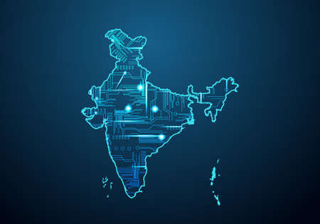 Abstract futuristic map of india. Circuit Board Design Electric of the region. Technology background. mash line and point scales on dark with map.