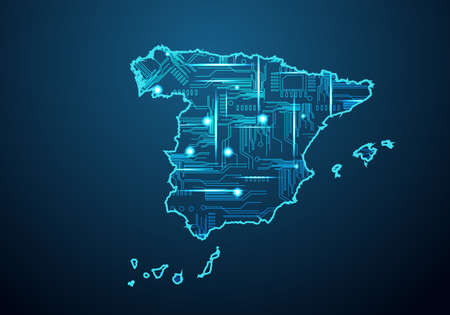 Abstract futuristic map of spain. Circuit Board Design Electric of the region. Technology background. mash line and point scales on dark with map.