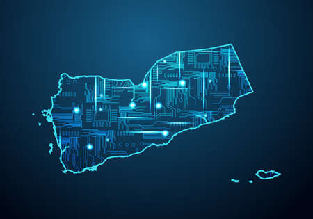 Abstract futuristic map of sri Lanka. Circuit Board Design Electric of the region. Technology background. mash line and point scales on dark with map.