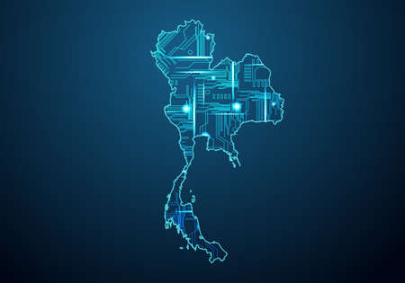 Abstract futuristic map of world With Antarctica. Circuit Board Design Electric of the region. Technology background. mash line and point scales on dark with map.