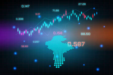 Stock market background or forex trading business graph chart for financial investment concept of Tunisia map. business idea and technology innovation design.