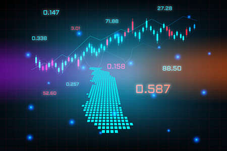 Stock market background or forex trading business graph chart for financial investment concept of Togo map. business idea and technology innovation design.