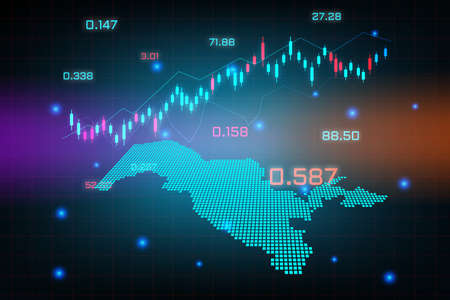 Stock market background or forex trading business graph chart for financial investment concept of Uzbekistan map. business idea and technology innovation design. Illustration