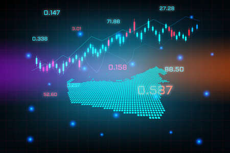 Stock market background or forex trading business graph chart for financial investment concept of United Arab Emirates map. business idea and technology innovation design.