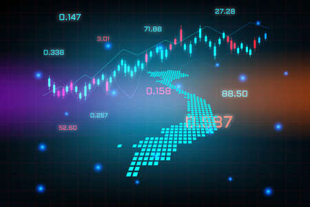 Stock market background or forex trading business graph chart for financial investment concept of Vietnam map. business idea and technology innovation design.