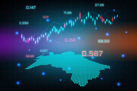 Stock market background or forex trading business graph chart for financial investment concept of Turkmenistan map. business idea and technology innovation design.