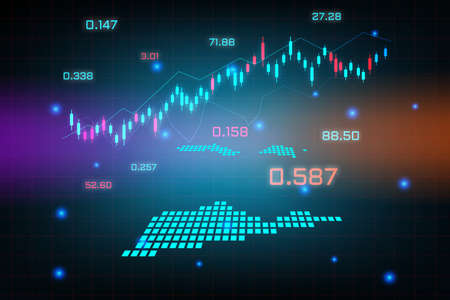Stock market background or forex trading business graph chart for financial investment concept of US Virgin Islands map. business idea and technology innovation design.
