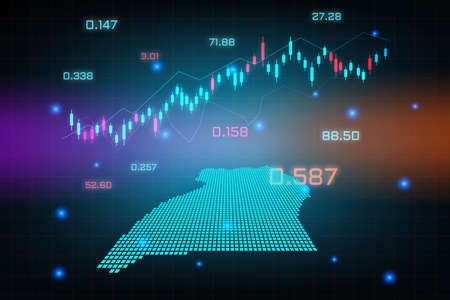 Stock market background or forex trading business graph chart for financial investment concept of Uganda map. business idea and technology innovation design.