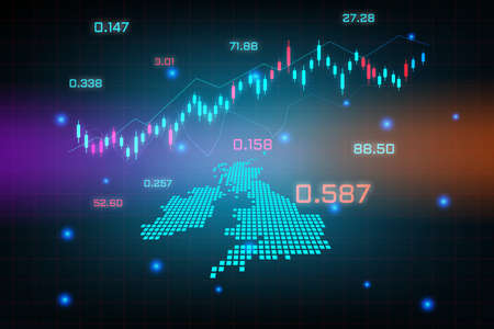 Stock market background or forex trading business graph chart for financial investment concept of United Kingdom map. business idea and technology innovation design.