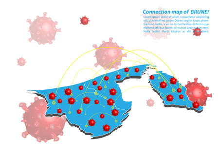 Vector of map connection of brunei Darussalam with Covid-19 Virus image on it, the COVID-19 outbreak spread. Coronavirus is spread to all over the world and infected to all countries.