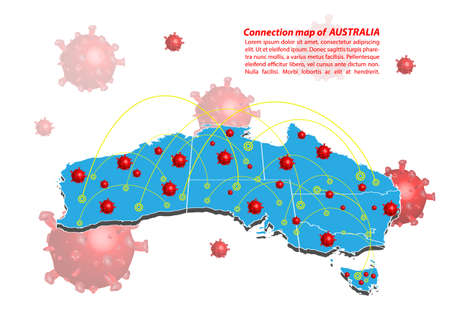 Vector of map connection of australia with Covid-19 Virus image on it, the COVID-19 outbreak spread. the official name by WHO for 2019 Corona Virus. Illustration