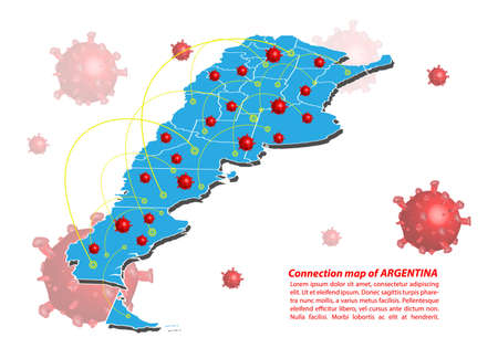 Vector of map connection of argentina with Covid-19 Virus image on it, the COVID-19 outbreak spread. the official name by WHO for 2019 Corona Virus.