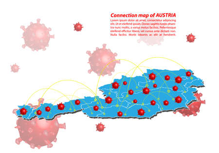 Vector of map connection of austria with Covid-19 Virus image on it, the COVID-19 outbreak spread. the official name by WHO for 2019 Corona Virus.