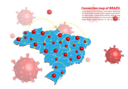 Vector of map connection of brazil with Covid-19 Virus image on it, the COVID-19 outbreak spread. Coronavirus is spread to all over the world and infected to all countries. Illustration