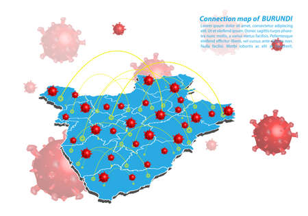 Vector of map connection of armenia with Covid-19 Virus image on it, the COVID-19 outbreak spread. the official name by WHO for 2019 Corona Virus. Illustration