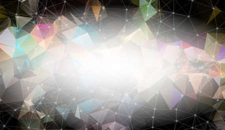 Abstract Dark Black Polygonal Space Background with Connecting Dots and Lines.  Connection structure and science background. Futuristic HUD design.