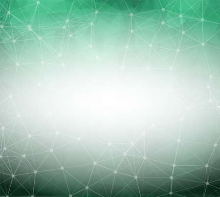 Geometric Dark Green Polygonal background molecule and communication. Connected lines with dots. Minimalism background. Concept of the science, chemistry, biology, medicine, technology. Illustration