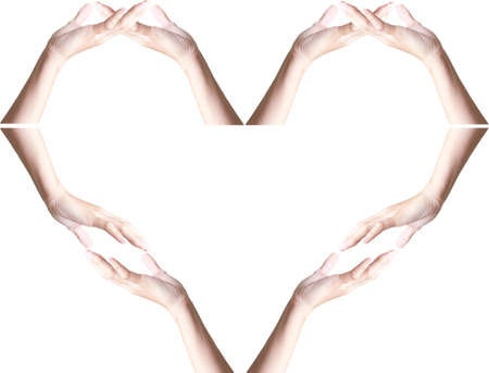 aligning: beautiful hands aligning to shape heart
