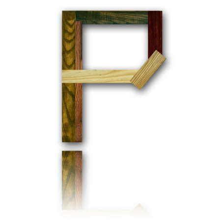 Wood alphabet symbol - P Stock Photo - 11017201