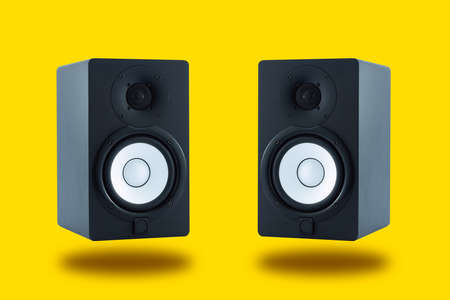 Pair of professional high quality monitor speakers for sound recording, mixing, and mastering in studio in black wooden casing isolated on yellow background. Stockfoto