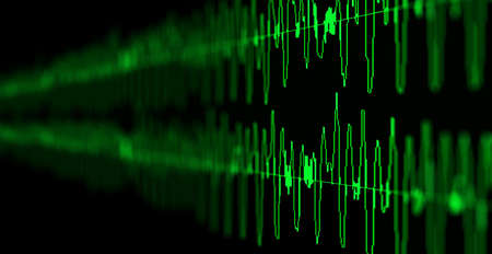 Image macro closeup of Seismic, stock market, and sound audio wave diagram. Blur, DOF.