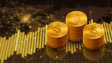 Rows of gold dollar coins with trading graph and forex trading chart. Cryptocurrency, Digital economy, Finance, Bank, and Business investment concept. 3D Render.
