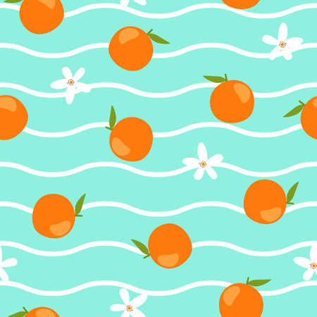 Orange and Flower Seamless Pattern with Wave Background Ilustração
