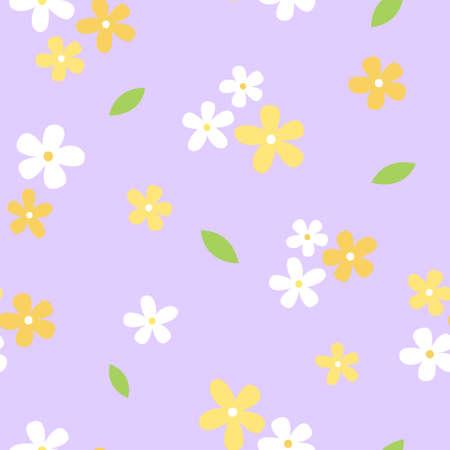 Mini Yellow and White Flower Seamless Pattern with Purple Background Ilustração