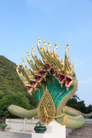 Nine head of serpent statue in Wat thailand photo