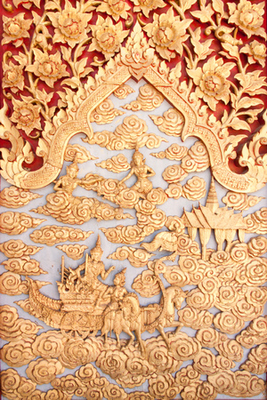 asian art: Art of Wood Carving  Carved wooden door in the temple  A beautiful Asian sculptures