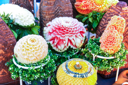 art and craft: Watermelon, Pumpkin and Carrot carving fruit. Art Craft of Thailand. Stock Photo