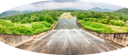 spillway: Spillway in the reservoir of Prachuapkirikhan Thailand. The spillway of the dam Stock Photo
