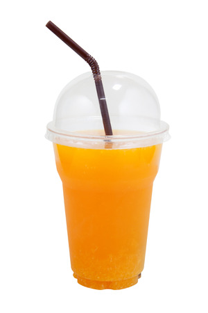 clear path: Orange juice in plastic clear cup on isolated white with clipping path Stock Photo