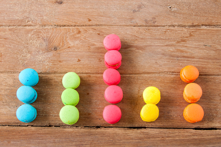 arranged in a bar graph colorful french Macaroon on wood  background