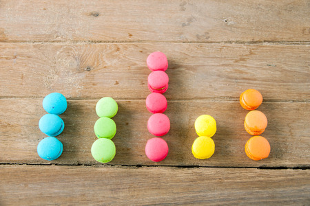 bisiness: arranged in a bar graph colorful french macaroon on wood  background Stock Photo