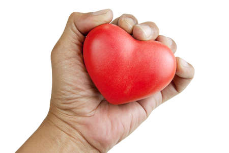lonely heart: Owner of the lonely heart. Hand holding a red heart. isolated white background with clipping paths