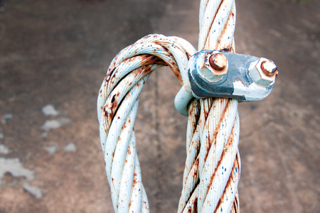 slings: slings with the lock nut on concrete background Stock Photo