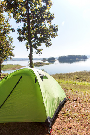 riverside trees: camping at riverside under trees in national park Stock Photo