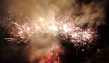 no fires: Fireworks Display and smoke in night celebration