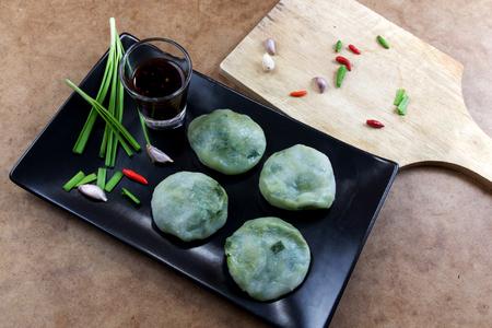 odorum: Allium tuberosum. Garlic chives with soy source. Dim sum is chinese cuisine. Dimsum.