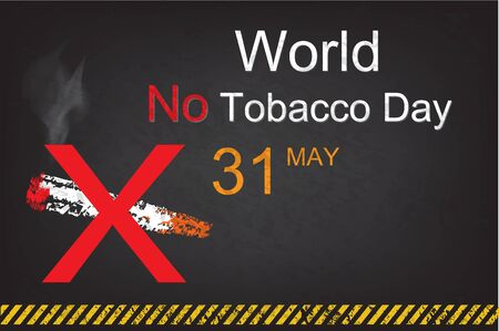 31st: No Smoking sign on grunge background for May 31st World No Tobacco Day. Style Chalk on blackboard and warning stripes black and yellow color.