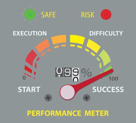 ninety: success performance conceptual meter. ninety nine percent. Flat Lay for design Illustration