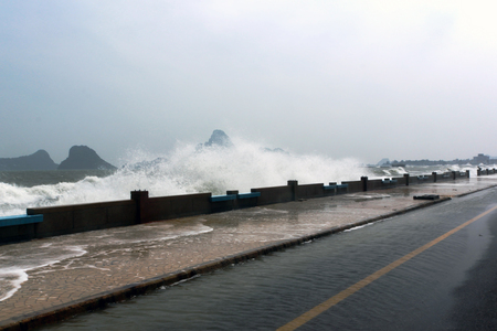 the surge: storm surge a rising of the sea in Thailand