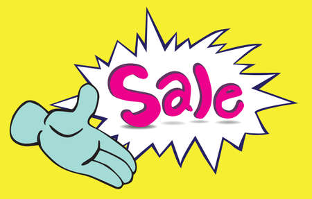 dialog box: cartoon one hand and word  sale  in a dialog box Illustration