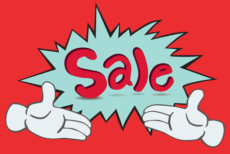 dialog box: cartoon two hand and word  sale  in a dialog box