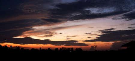 panoramas: Sunrise of the rainy season. Panoramas in nature. Stock Photo