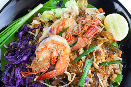 Stir fried Seaweed glass line with Shrimp (Pad Thai) Food Low Carbohydrate for to lose weight