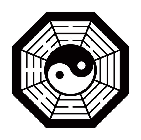 taoism: Yin Yang symbol and Map the eight symbol of Taoism. Black and White color.