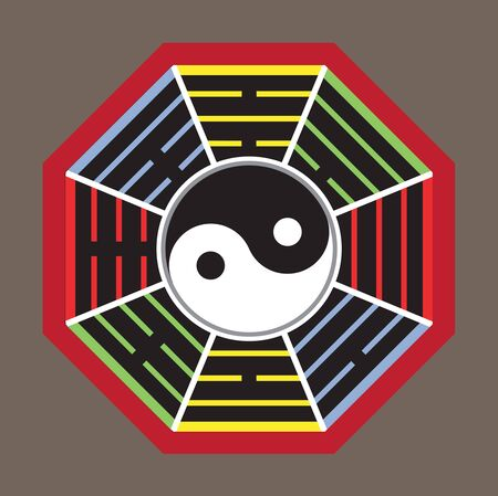 taoism: Yin Yang symbol and Map the eight symbol of Taoism. Illustration
