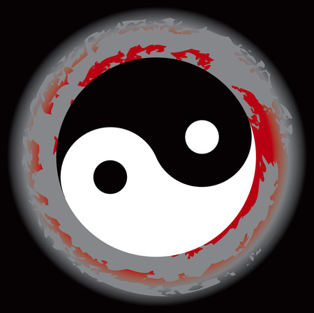 Yin Yang symbol and Map the eight symbol of Taoism. Illustration